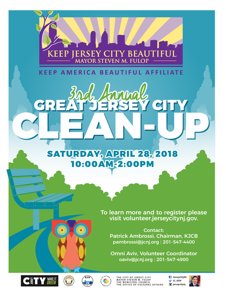 The 3rd Annual Great Jersey City Clean Up on April 28, 2018